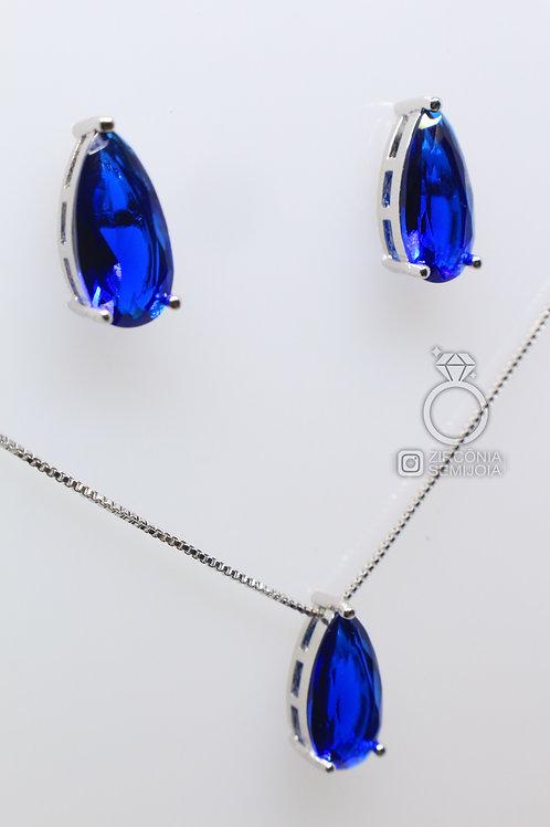Conjunto Ródio Gota Zircônia Azul
