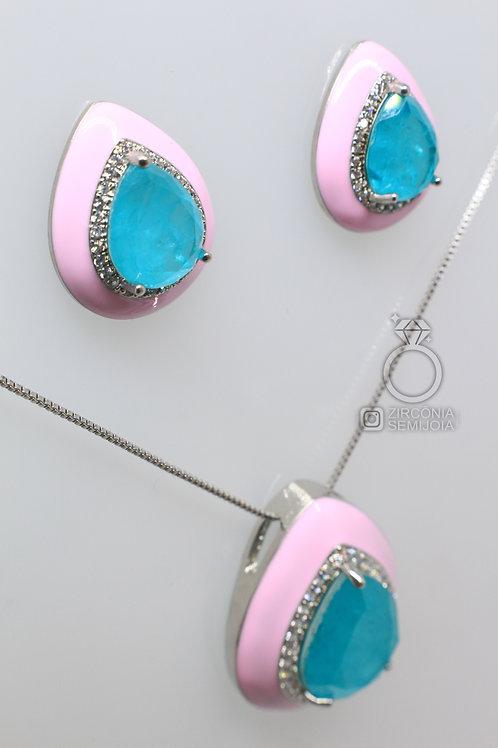 Conjunto Luxo Gota Rosa com Zirc. Azul Água