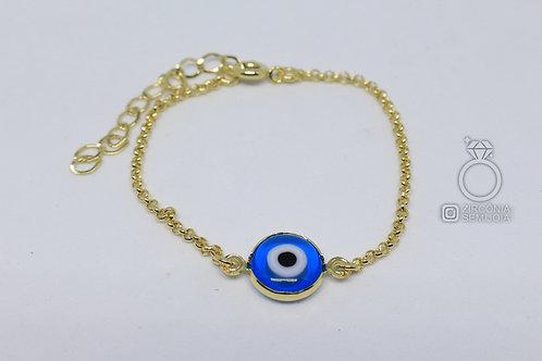 Pulseira Ouro 1 Olho Grego Azul
