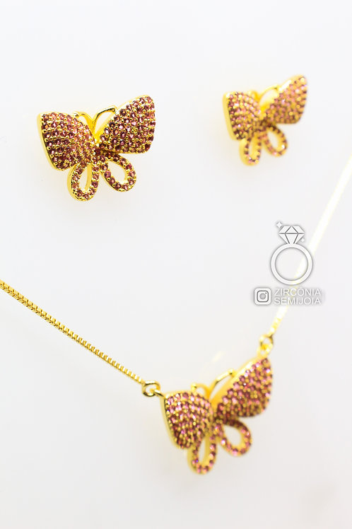 Conjunto Ouro Borboleta Vazada Cor Turmalina