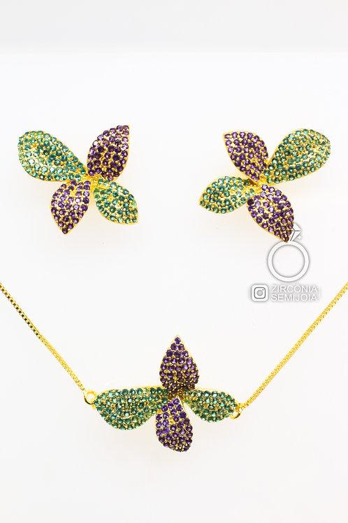 Conjunto Ouro Borboleta Cor Ametista e Esmeralda