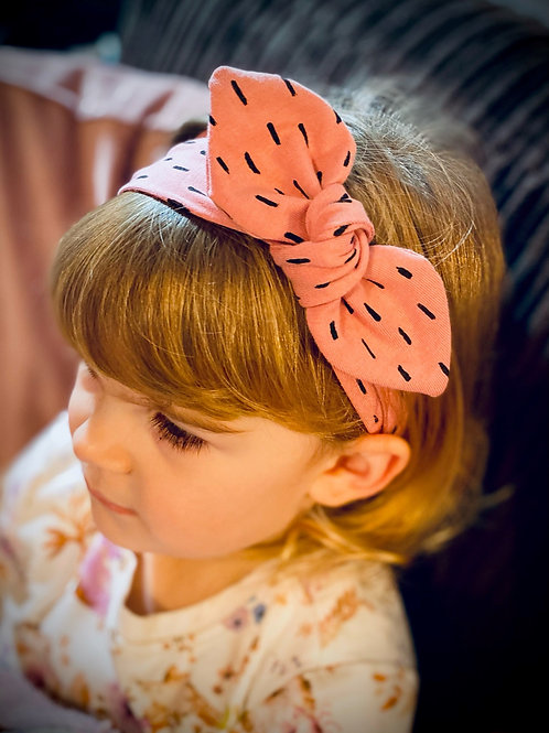 Knot Bow Elasticated Headband Dots and Dashes