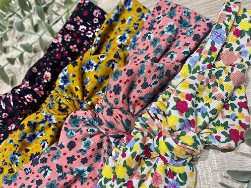 Knot Bow Elasticated Headbands Floral