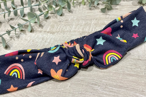 Knot Bow Elasticated Headband Rainbows and Unicorns