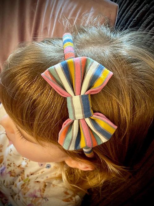 Classic Bow Headband Rainbow Stripe
