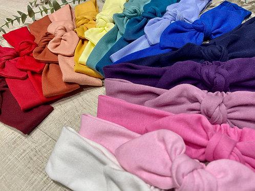 Knot Bow Elasticated Headbands Colours of the Rainbow
