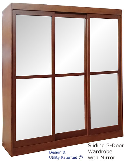 Sliding Three Door Cabinet with Mirror