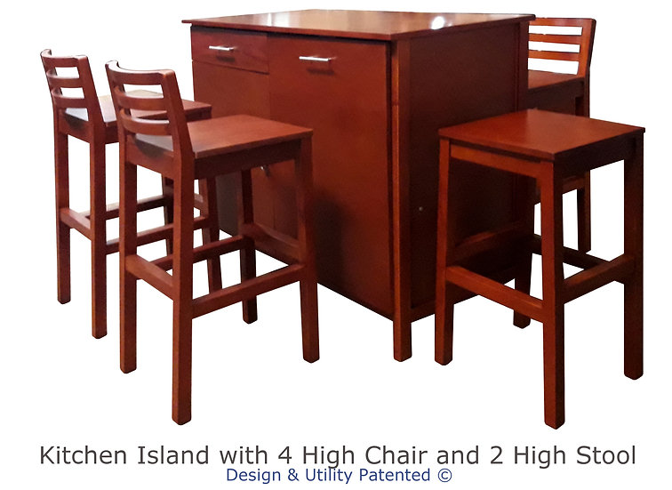 Kitchen Island with High Chairs and High Stool
