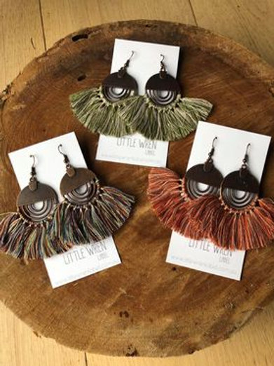 Boho Brushed Metal Tassel Earrings