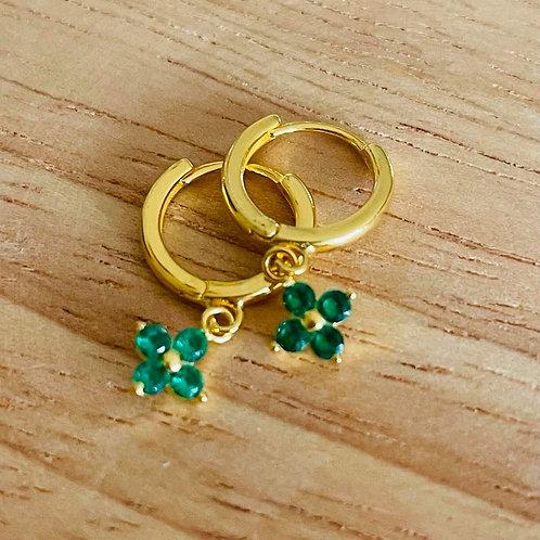 Clover Drop Earrings Emerald Gold