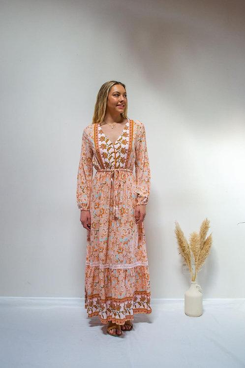 Peach Long Sleeve Maxi Dress