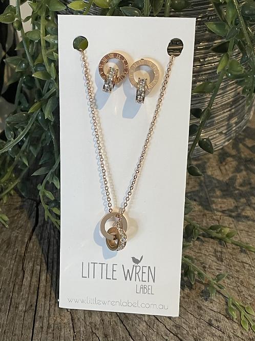 Rosegold & Zirconia Earring & Necklace Set