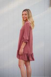 Tara Long Sleeve Shift Dress Blush