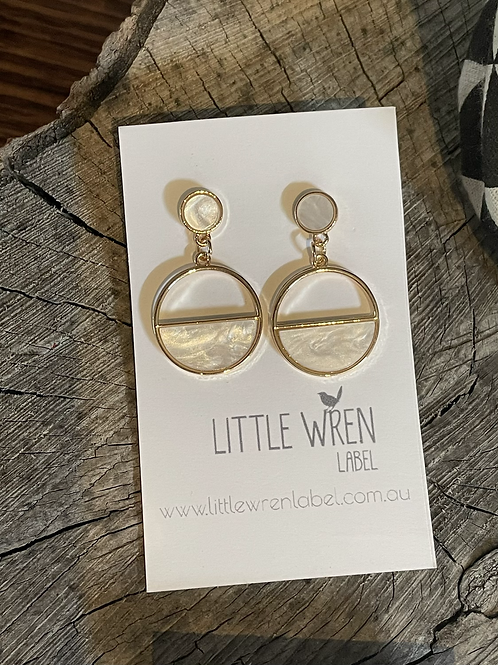 Geo White Earrings