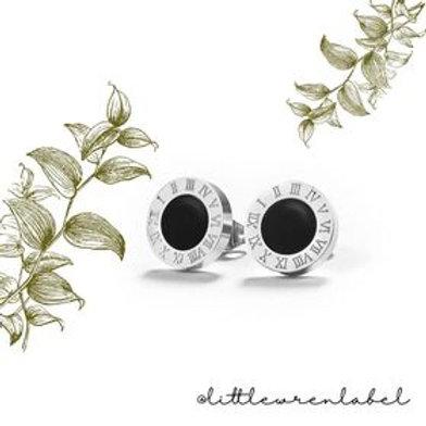 Roman Stud Earrings Silver