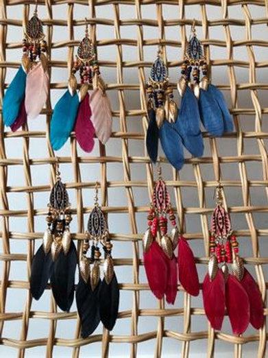 Aztec Feather Drop Earring