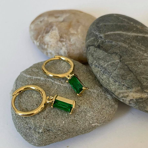 Drop Earrings Emerald and Gold