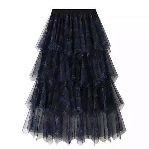 Ruffle Tartan Skirt Navy