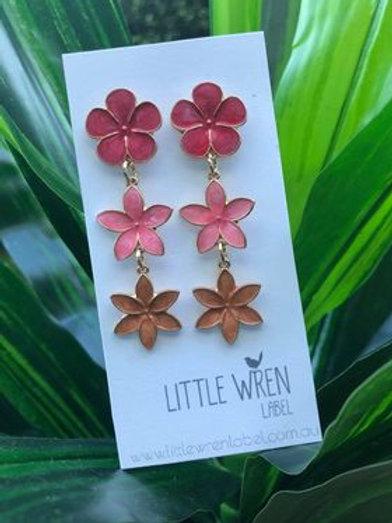 Floral Drop Earrings Pink