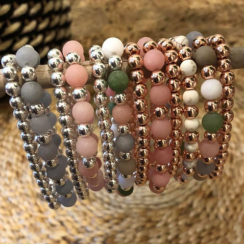 Semi Precious Bracelets Pair
