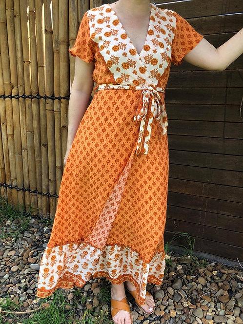 Boho Wrap Dress Tangerine