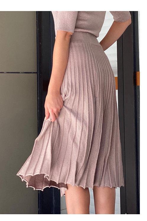 Pleated Knit Midi Skirt