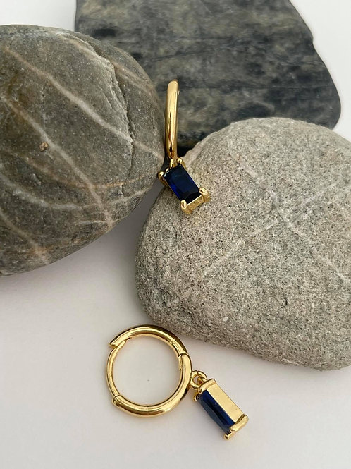 Drop Earrings Sapphire and Gold