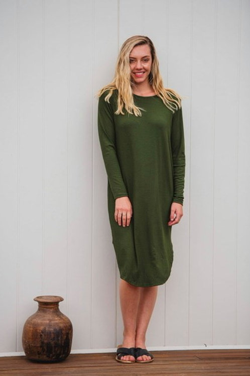 Kayla Long Sleeve Dress Olive