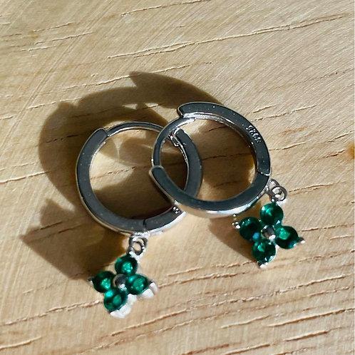 Clover Drop Earrings Emerald Silver
