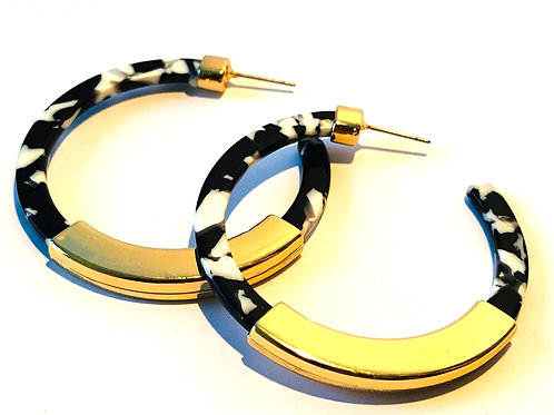 Black & White Leopard Hoop Earrings