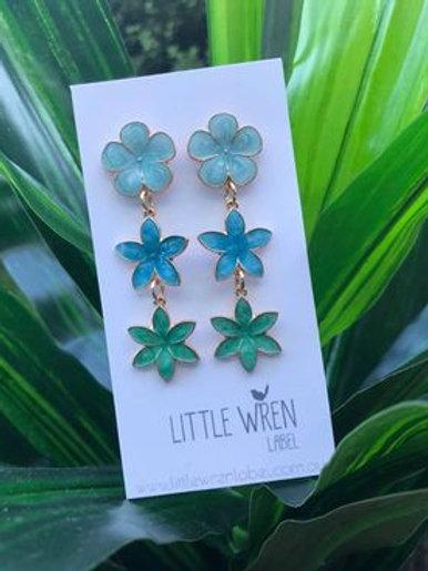 Floral Drop Earrings Blue