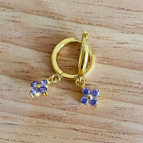 Clover Drop Earrings Purple Gold