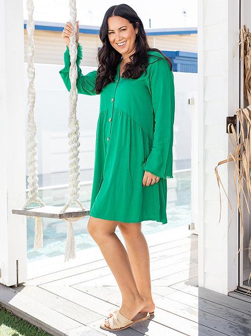 Fringe Babydoll Dress Emerald