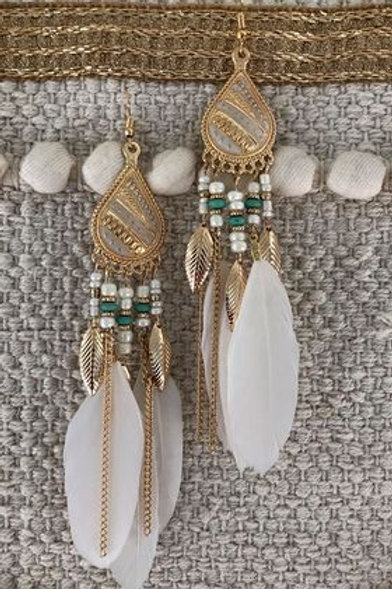 White Cascade Feather Earring