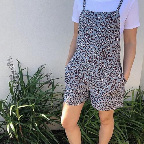 Carli Playsuit Blue Leopard