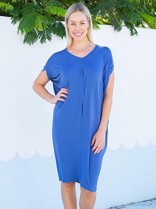 Kaftan Jersey Dress Cobalt