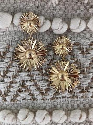 Gold Sunflower Earring