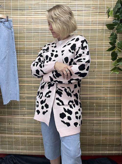 Pink Animal Knit Cardi