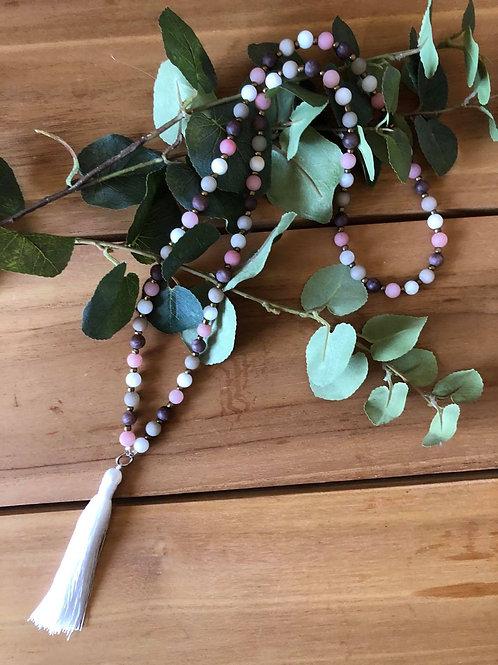 Jade Bead Necklace Pink
