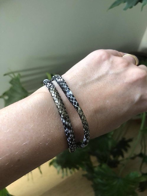Black Snake Skin Cord Bracelet