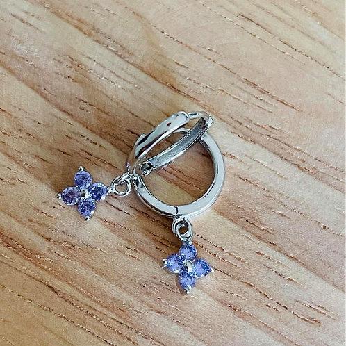 Clover Drop Earrings Purple Silver