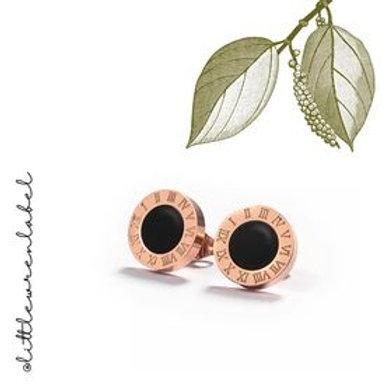 Roman Stud Earrings Rose Gold
