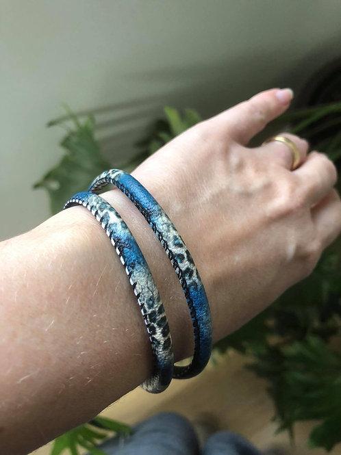 Blue Snake Skin Cord Bracelet