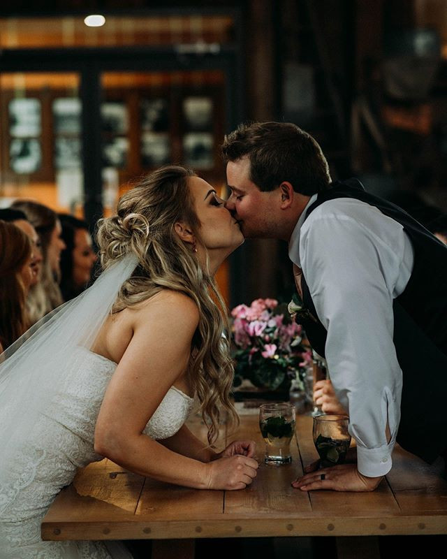 Kiss for the bride and groom