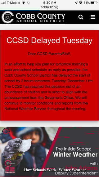 School Delayed Dec.11th