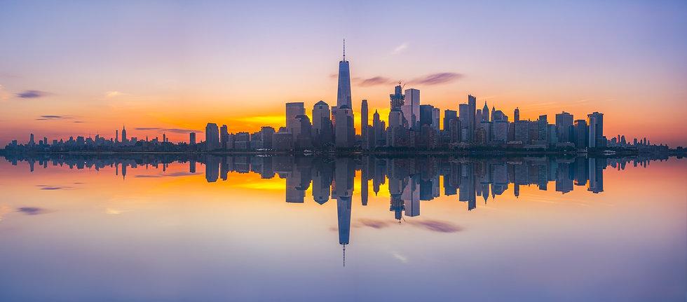 New York City Skyline Reflections at sun