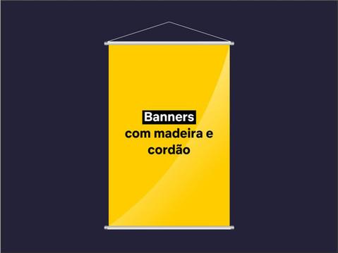 Clique e faça o seu pedido de Banner em lona ou tecido com madeira e cordão.