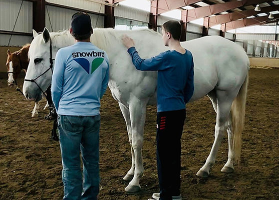 Two teenaged boys from our Just Say Whoa horse therapy group which is focused on underserved youth in the Boulder, Colorado community.