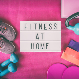 Fitness at home sign with pink yoga mat,