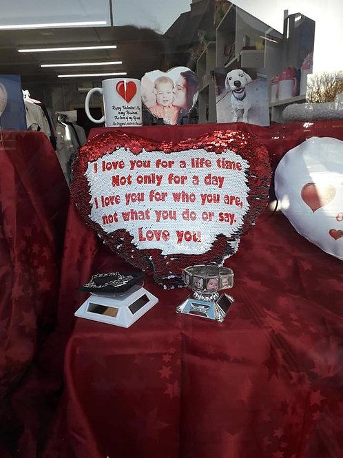 Love Heart Sequin Cushion